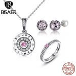 BISAER 925 Sterling Silver Classic Pink Heart Sweet Love Clear CZ <b>Jewelry</b> Sets Wedding Engagement <b>Jewelry</b> HPS030