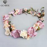 CC Flower Crowns Tiaras Romantic Wreath Fairy Wedding Hair Accessories For Bridal Bridesmaids Beach Sweet <b>Jewelry</b> <b>Handmade</b> M026