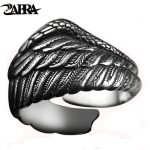 ZABRA Vintage 925 Silver Men Ring Adjustable Eagle Wing Feather Retro Black Punk Biker Man Rings Female Sterling Silver <b>Jewelry</b>
