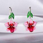 RainMarch Bohemian Enamel Pink Flower Earrings Silver For Women Engagement 925 Sterling Silver Earring <b>Handmade</b> Party <b>Jewelry</b>