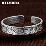 BALMORA 990 Pure <b>Silver</b> Peony Flower Open Bangles for Women Mother Gift about 17cm <b>Bracelet</b> Buddhistic Jewelry Esposas SZ0509
