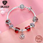 BISAER 9pc Authentic 925 Sterling <b>Silver</b> Mom Letters Red Heart Enamel Charm <b>Bracelet</b> For Women Mother Gift <b>Silver</b> Bangle GXB807