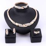 Wedding Bridal <b>Jewelry</b> Set Dubai Gold Color Crystal Women Party <b>Necklace</b> Bangle Earring Ring Fine African Beads <b>Jewelry</b> Set