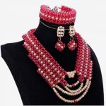 Wholesale Dubai <b>Jewelry</b> Sets Plated Gold & Dark Red Wine Necklace Set For Party 2018 <b>Handmade</b> Fine <b>Jewelry</b> Sets for Women