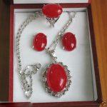 Women's Wedding New <b>Jewelry</b> Plated Red gem Ring Earrings Pendant Set silver mujer moda