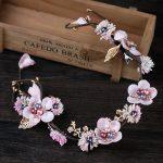 Vintage Pink Purple Hair <b>Jewelry</b> For Women Wedding Bridal Flower Yarn Headbands Pearl Hairbands Clips Hair Accessories Headpiece