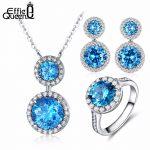 Effie Queen New Top Silver Color <b>Jewelry</b> Set Blue Cubic Zircon Pendant <b>Necklace</b>/Earrings/Ring Women Wedding <b>Jewelry</b> Sets DS110