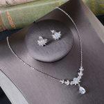 Simple Bridal Necklace And Earrings Set Sparkling Rhinestone Alloy Drop Shape Zircon <b>Handmade</b> Wedding <b>Jewelry</b> Set Parting Gifts