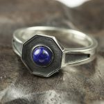Original Design 925 Sterling Silver Rings For Men and women With Natural Lapis Lazuli Stone Hexagon Shaped Elegant <b>Jewelry</b> Ring