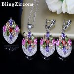 BlingZircons Bohemia Aesthetic Colorful Cubic Zirconia Necklace Earring Ring Sets CZ Sterling 925 Silver <b>Jewelry</b> For Women JS012