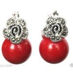 Nice Red Carved Lacquer Marcasite 925 Sterling <b>Silver</b> Ring(#7-10) <b>Earrings</b> & Pandent jewelry sets