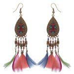 SHOWTRUE Feather Pendientes earrings for women <b>Native</b> <b>American</b> <b>Jewelry</b> Multicolors Zinc alloy dangle earring femme