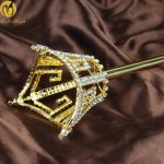 Unisex King Queen Gold Long Sceptre Parade Pageant Party Costumes Men Women Crystal Scepter Wand Handhelds Props Staff