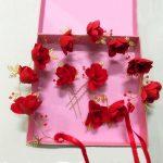 TUANMING Gold Red Flower Crystal Bride Headband Hairpins Set Wedding Hairband Bridal Sticks Hair Accessories Women <b>Jewelry</b>