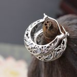 court <b>jewelry</b> wholesale handmade silver small ear ring anti allergy 925 sterling silver hollow pattern retro Earrings