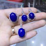 Natural blue lapis lazuli gem jewelry sets natural gemstone Pendant ring <b>Earrings</b> 925 <b>silver</b> Elegant Luxury round women jewelry