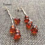 Yoowei Natural Amber Earrings Women 100% Genuine Rose Flower Amber <b>Jewelry</b> Gifts Long Drop Dangling Earrings pendientes de ambar
