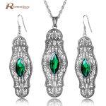 Turkish Jewelry Green CZ Stone Marquise Women 925 Sterling <b>Silver</b> Jewelry Sets Vintage Wedding <b>Earring</b>/Pendant Free Gifts Box