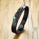 Black Leather Bracelet with Agaphite Turkish Stone Feather Wristband brackelts for Men Women <b>Native</b> <b>American</b> Unisex <b>Jewelry</b>