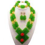Green African Beads <b>Jewelry</b> Set 2017 Beautiful Nigerian Wedding Bridal/Bridesmaid <b>Jewelry</b> Set <b>Handmade</b> Free Shipping