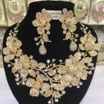 Luxury Gold <b>Wedding</b> Flower Necklace Earrings Set Chunky Statement Bridal <b>Jewelry</b> Set Crystal Rhinestone <b>Jewelry</b> for Women WC027