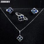ZHHIRY Women Jewelry Sets Natural Sapphire Gem Stone Genuine 925 Sterling <b>Silver</b> Ring <b>Earring</b> Pendant Chain