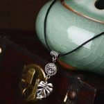 Traditional Chinese Silver Feather Pendent Necklace with Rope Chain | Handmade Boho Leaf Lariat Necklace <b>Native</b> <b>American</b> <b>Jewelry</b>