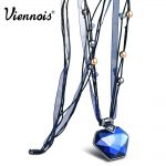 Viennois Ribbon Long Pendant Necklaces for Women Blue/Orange Crystal Pendants Necklaces Female <b>Fashion</b> <b>Jewelry</b>