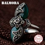 BALMORA Authentic 925 Sterling Silver Vintage Resizable Rings for Women Mother Lover Gift Mosaic Ring Party <b>Jewelry</b> MN20774