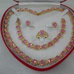 Prett Women's Wedding Beautiful women's <b>jewelry</b> set Necklace Bracelet Ring Earring( pink)+box 5.23