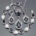 Bridal <b>Silver</b> 925 Jewelry Sets Black Zirconia Earrings For Women Wedding Jewelry Pendant Necklace Ring <b>Bracelet</b> Set Gifts Box
