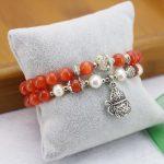 8mm Red Cat`s Eye Bracelet Pearl Bracelet Silver Gourd Pendant Female Bracelet For Women Gift For Girl Fashion <b>Jewelry</b> <b>Making</b>
