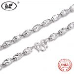 WK Real Sterling <b>Silver</b> 925 Long Chain <b>Necklace</b> Men 4mm 5mm 6mm Thick Olives Bead <b>Necklaces</b> 45 50 55CM Mens Jewelry NEW W2 NM011