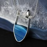 Lotus Fun Real 925 <b>Sterling</b> <b>Silver</b> Natural Agate Handmade Fine <b>Jewelry</b> Lovely Penguin Necklace with Pendant for Women Collier