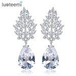 LUOTEEMI Brand Style Unique Dangle Earrings for Women Noble Zircon Bridal <b>Wedding</b> <b>Jewelry</b> Water Drop Party Earrings Wholesale