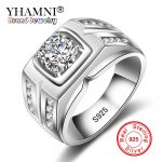 YHAMNI Original Solid 925 Silver Rings For Men Sona 1 Carat Diamant Engagement Rings Cubic Zirconia Wedding Rings Men <b>Jewelry</b> 04