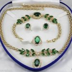 "FREE SHIPPING>> 18GP natural green zircon necklace 18 ""<b>bracelet</b> 7.5″ Earr no box AAA"