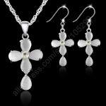 JEXXI Fashion Jewelry Sets 925 Sterling <b>Silver</b> Cross Crystal Pendant <b>Necklaces</b> Hook Earrings For Women Best Gifts Free Ship