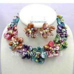 New Arrive Colorful Mother Of Pearl Shell Freshwater Pearl Flower <b>Necklace</b>/Earrings Set 18inch Fashion Party Jewelry Wholesale