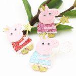 Wholesale 20PCs Glitter Wool Felt Fabric Kawaii Animal Pig Elephant Rabbit Button Patch Sticker Craft Fit Girls Hair <b>Jewelry</b> DIY
