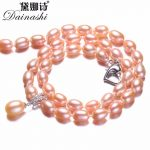 Dainashi 925 Sterling <b>Silver</b> Pearl <b>Necklace</b>,White/Pink/Purple Natural Freshwater Pearl,6-7/8-9 mm,45cm+5cm Length,Fine Jewelry