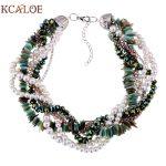 KCALOE Imitation Pearl Necklace Green Shell Crystal <b>Handmade</b> Weave Wedding <b>Jewelry</b> Link Chain Choker Statement Necklaces Women