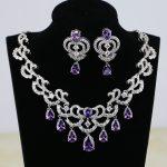 Water Drop Purple CZ White Zircon Women Silver Color Bridal <b>Jewelry</b> <b>Wedding</b> Earrings Pendant Necklace Sets