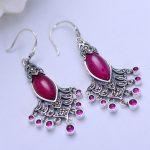 MetJakt Natural Red Corundum Earrings Insert Zircon Solid 925 <b>Sterling</b> <b>Silver</b> Earring for Women's Wedding Party Luxury <b>Jewelry</b>