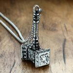 Mens Solid Viking Thors Hammer Pendant Necklace Stainless Steel Vintage Mjolnir Norse <b>Jewelry</b>