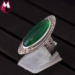 Top Quality Green Chalcedony Wedding Ring 100% 925 Sterling <b>Silver</b> <b>Jewelry</b> For Women Gifts Fine Vintage Gemstone Jade Ring SR34