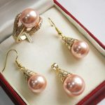 Prett Lovely Women's Wedding beautiful new <b>jewelry</b> pink 12mm shell pearl pendant necklace earring ring set