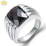 Hutang Engagement Ring Natural Gemstone Black Garnet Solid 925 <b>Sterling</b> <b>Silver</b> Fine Fashion Stone <b>Jewelry</b> For Women Men Gift New