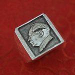 Carve <b>jewelry</b> original handmade retro 999 <b>sterling</b> <b>silver</b> ring man grandpa MAO head <b>silver</b> ring personality