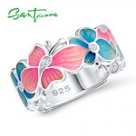 Rings for Woman Colorful Enamel Butterfly Flower Ring White Cubic Zirconia Stone Flower Ring Party <b>Fashion</b> <b>Jewelry</b> HANDMADE